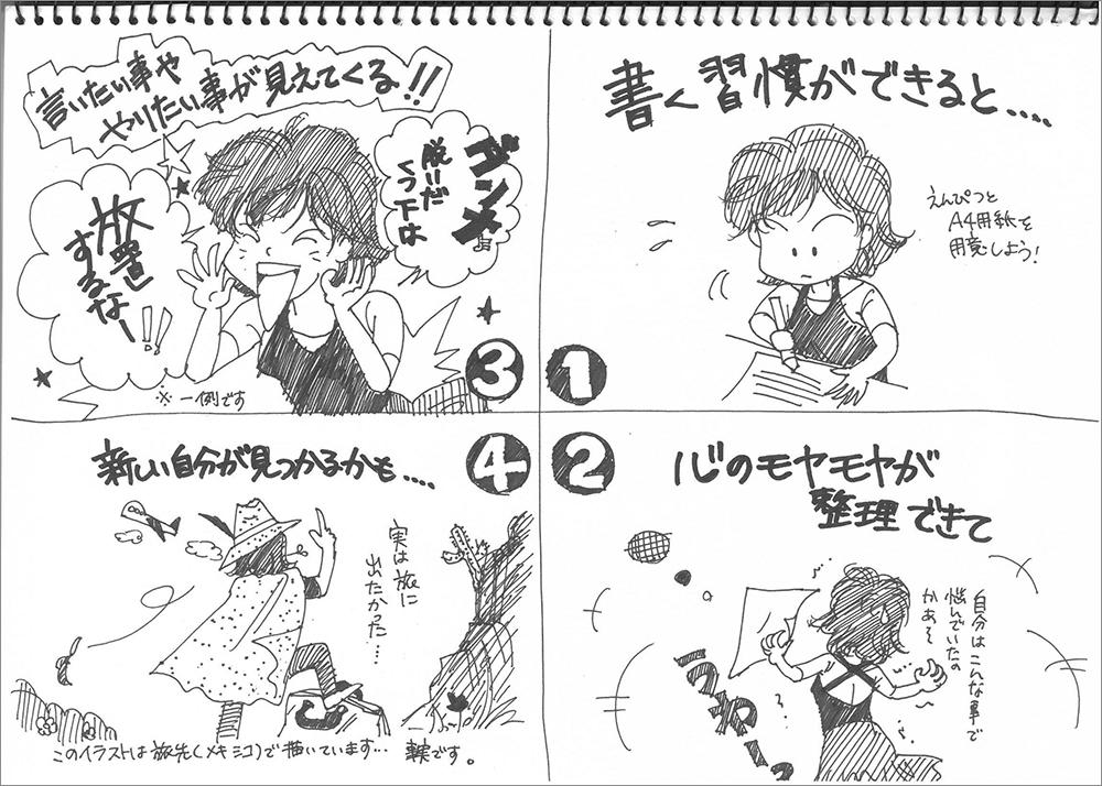 4コマ漫画で描く、心をすっきりさせるメモ書きトレーニング